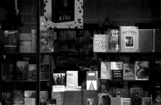 Book shop window in black and white